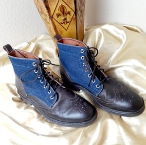 FACONNABLE Tailored Denim Wingtip Lace Up Boots